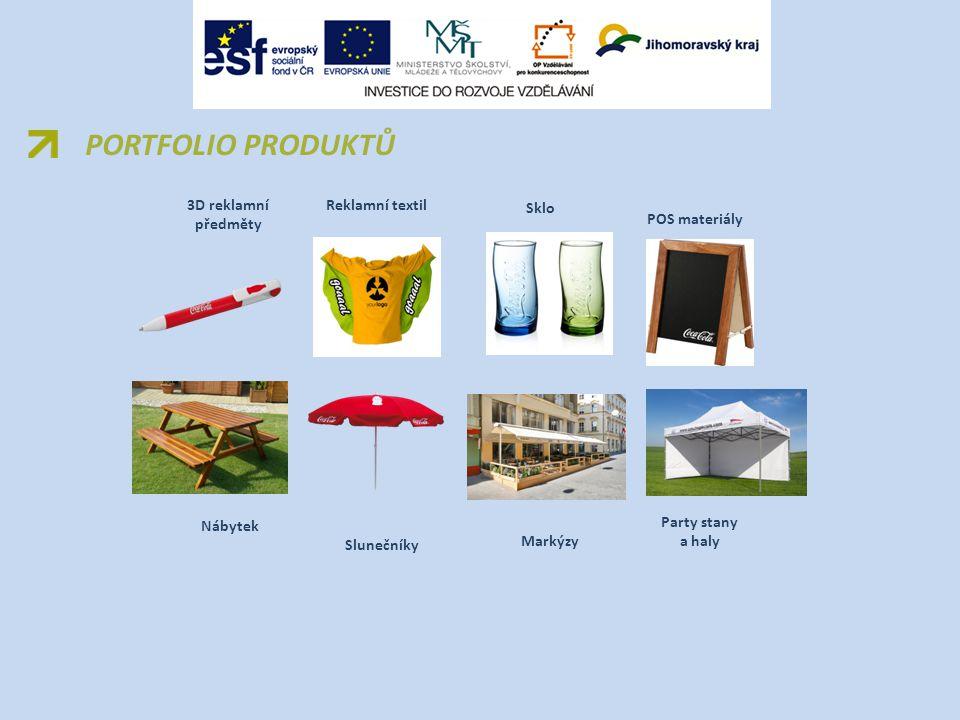 PORTFOLIO PRODUKTŮ 3D reklamní předměty Reklamní textil Sklo POS materiály Nábytek Slunečníky Markýzy Party stany a haly
