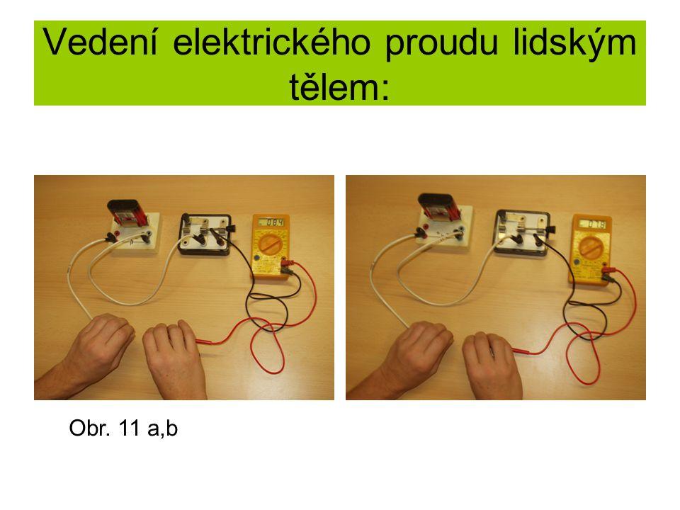 Vedení elektrického proudu lidským tělem: Obr. 11 a,b