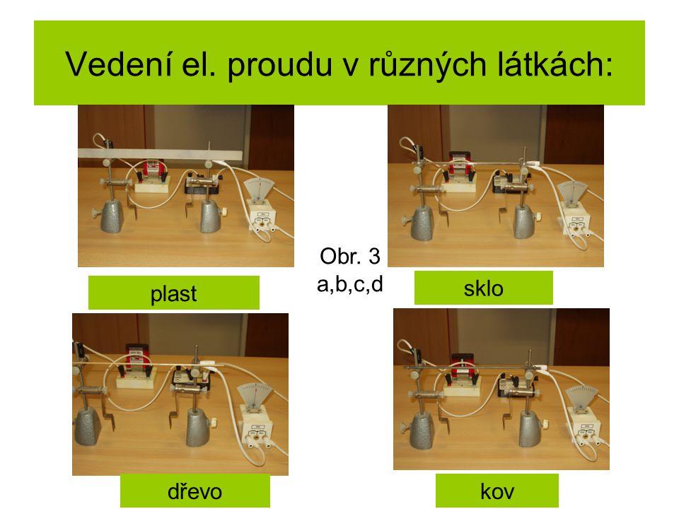 Vedení el. proudu v různých látkách: plast sklo dřevokov Obr. 3 a,b,c,d