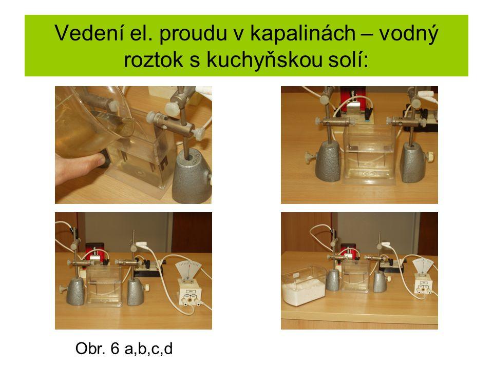 Vedení el. proudu v kapalinách – vodný roztok s kuchyňskou solí: Obr. 6 a,b,c,d