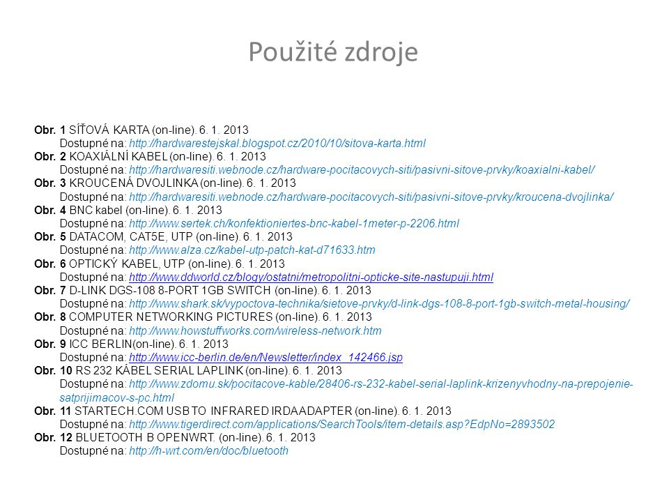Obr.1 SÍŤOVÁ KARTA (on-line). 6. 1.
