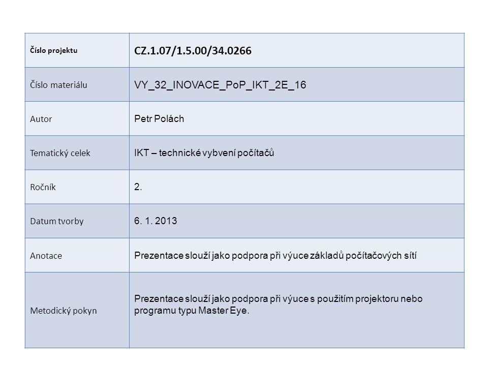 Číslo projektu CZ.1.07/1.5.00/34.0266 Číslo materiálu VY_32_INOVACE_PoP_IKT_2E_16 Autor Petr Polách Tematický celek IKT – technické vybvení počítačů Ročník 2.