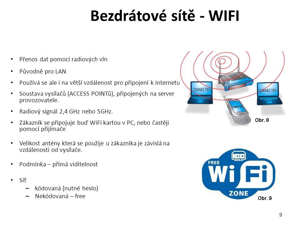 Bezdrátové sítě - WIFI Přenos dat pomocí radiových vln Původně pro LAN Používá se ale i na větší vzdálenost pro připojení k internetu Soustava vysílačů (ACCESS POINTů), připojených na server provozovatele.