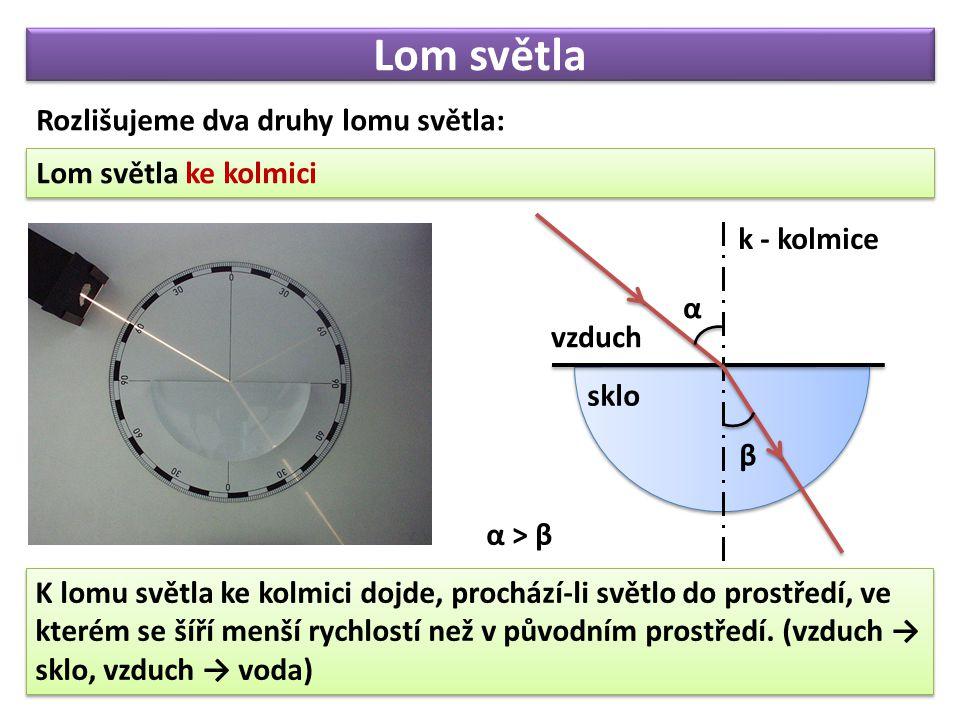 Lom světla Lom světla ke kolmici Rozlišujeme dva druhy lomu světla: vzduch sklo k - kolmice α β K lomu světla ke kolmici dojde, prochází-li světlo do