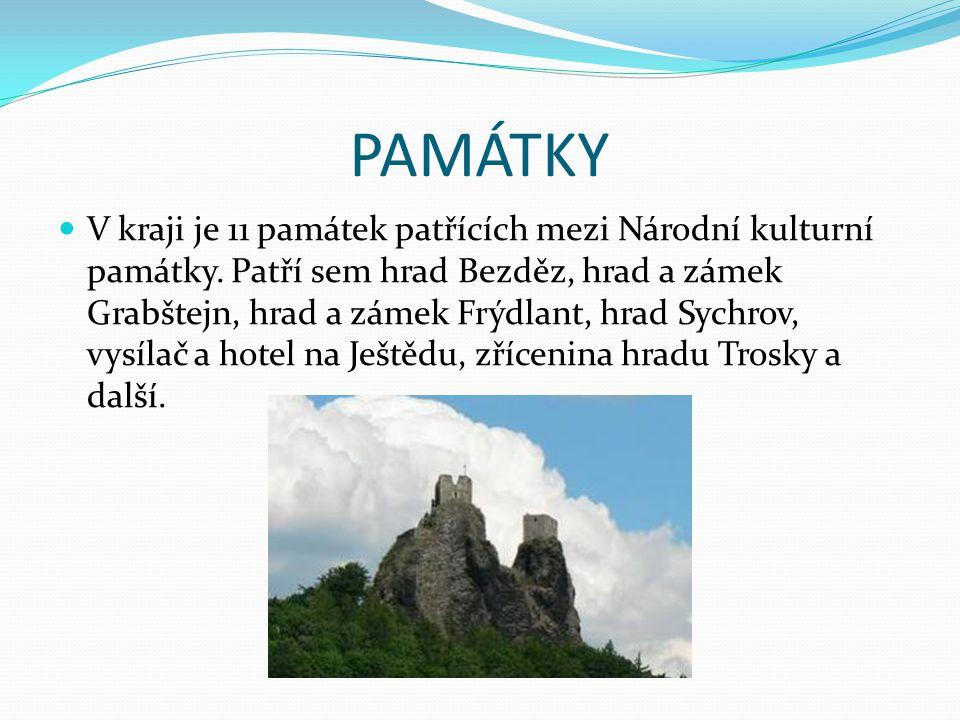 PAMÁTKY V kraji je 11 památek patřících mezi Národní kulturní památky. Patří sem hrad Bezděz, hrad a zámek Grabštejn, hrad a zámek Frýdlant, hrad Sych