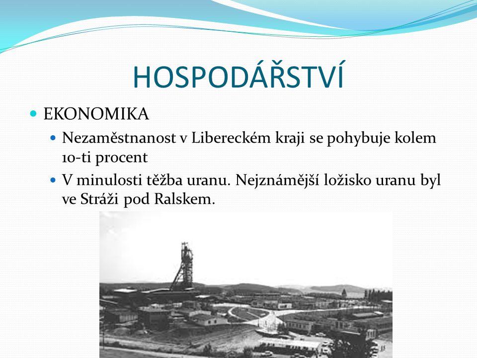 HOSPODÁŘSTVÍ EKONOMIKA Nezaměstnanost v Libereckém kraji se pohybuje kolem 10-ti procent V minulosti těžba uranu. Nejznámější ložisko uranu byl ve Str