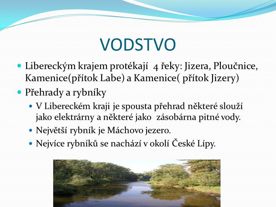 VODSTVO Libereckým krajem protékají 4 řeky: Jizera, Ploučnice, Kamenice(přítok Labe) a Kamenice( přítok Jizery) Přehrady a rybníky V Libereckém kraji