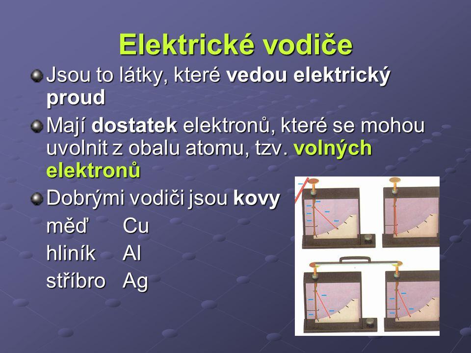 Elektrické vodiče Jsou to látky, které vedou elektrický proud Mají dostatek elektronů, které se mohou uvolnit z obalu atomu, tzv. volných elektronů Do
