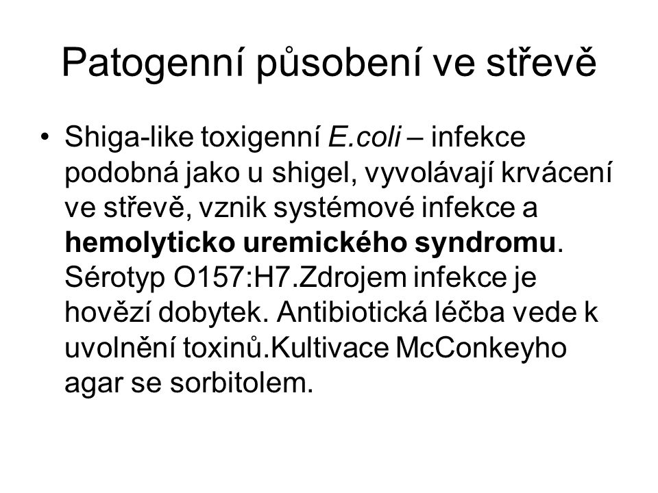Patogenní působení ve střevě Shiga-like toxigenní E.coli – infekce podobná jako u shigel, vyvolávají krvácení ve střevě, vznik systémové infekce a hem