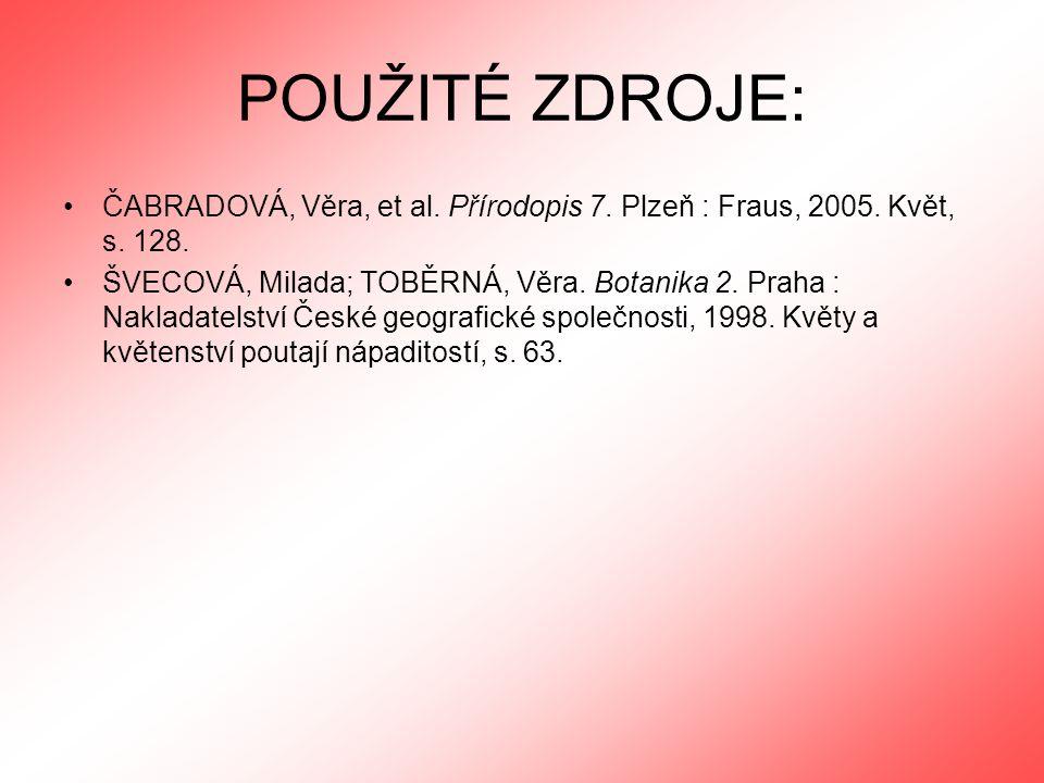 POUŽITÉ ZDROJE: ČABRADOVÁ, Věra, et al. Přírodopis 7. Plzeň : Fraus, 2005. Květ, s. 128. ŠVECOVÁ, Milada; TOBĚRNÁ, Věra. Botanika 2. Praha : Nakladate