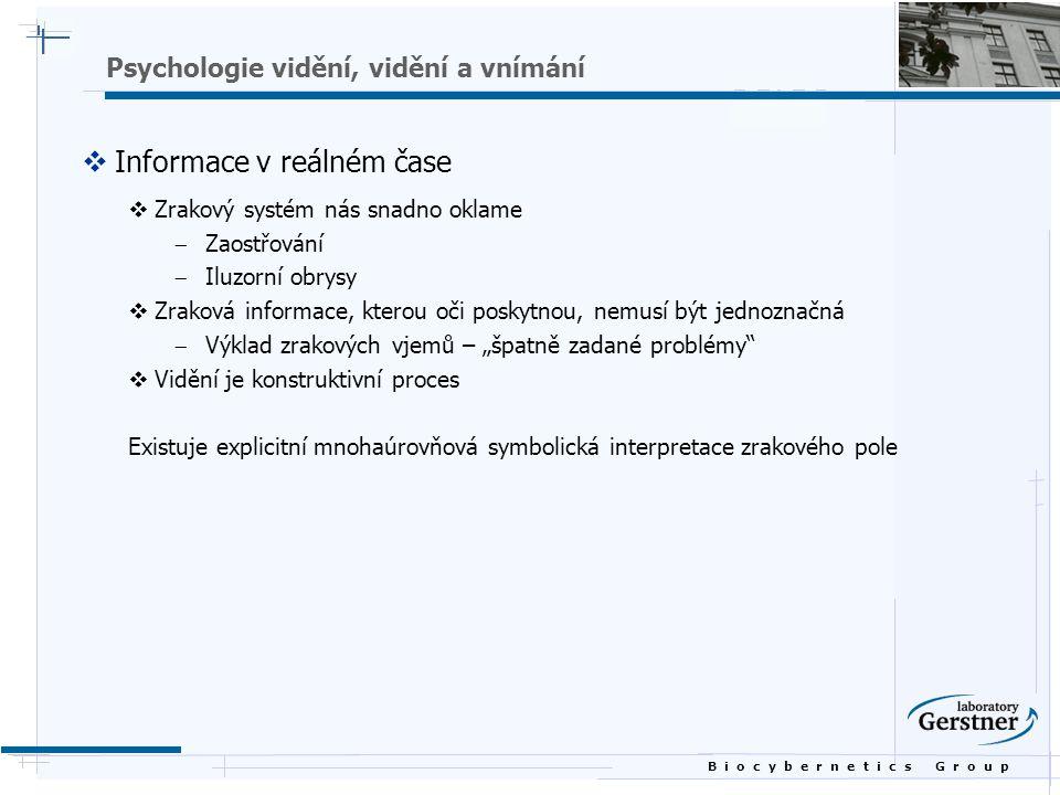 B i o c y b e r n e t i c s G r o u p Psychologie vidění, vidění a vnímání  Informace v reálném čase  Zrakový systém nás snadno oklame  Zaostřování