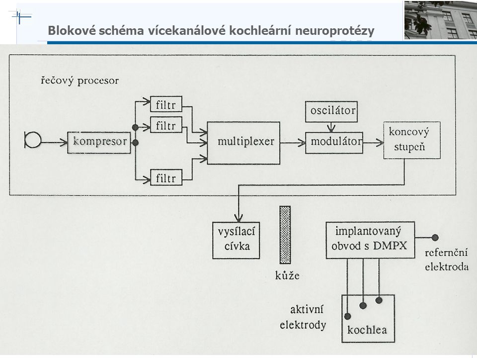 B i o c y b e r n e t i c s G r o u p Blokové schéma vícekanálové kochleární neuroprotézy
