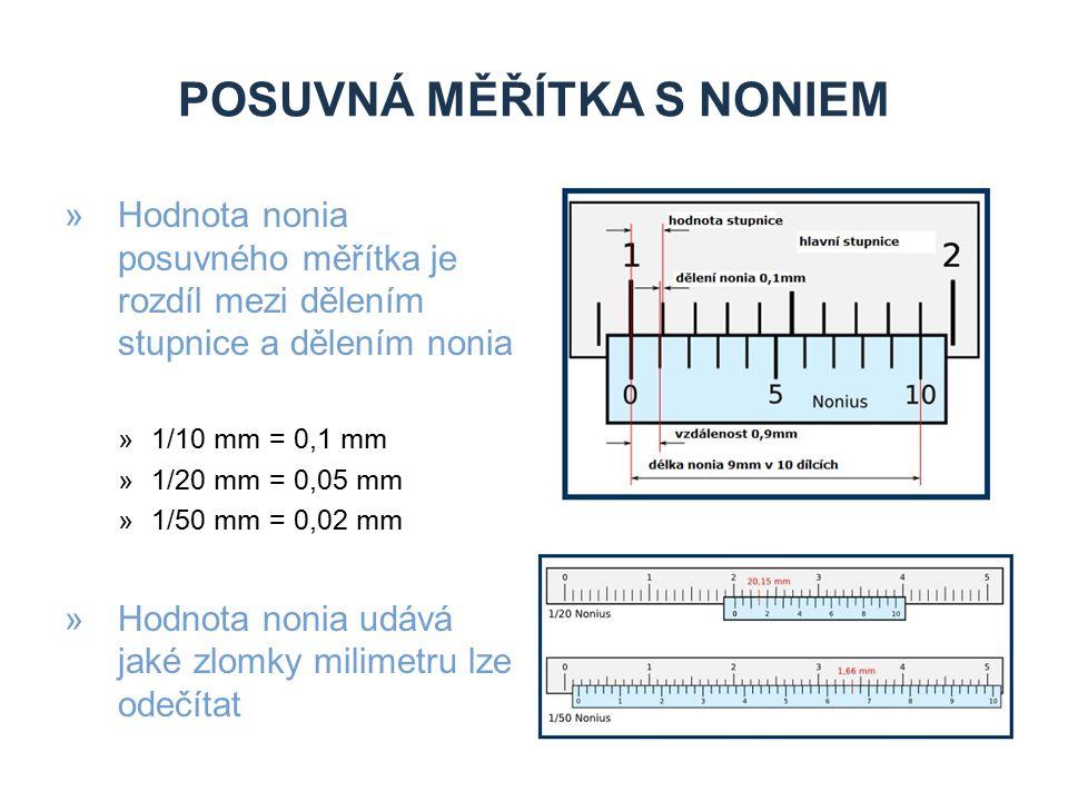 POSUVNÁ MĚŘÍTKA S NONIEM »Hodnota nonia posuvného měřítka je rozdíl mezi dělením stupnice a dělením nonia »1/10 mm = 0,1 mm »1/20 mm = 0,05 mm »1/50 m