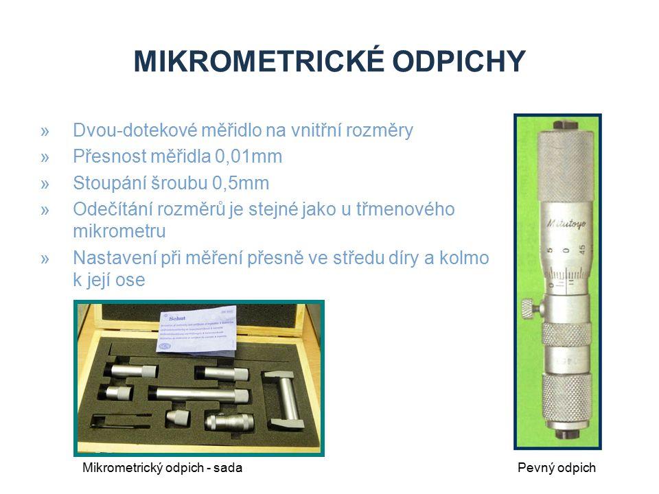 MIKROMETRICKÉ ODPICHY »Dvou-dotekové měřidlo na vnitřní rozměry »Přesnost měřidla 0,01mm »Stoupání šroubu 0,5mm »Odečítání rozměrů je stejné jako u tř