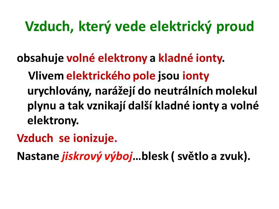 Vzduch, který vede elektrický proud obsahuje volné elektrony a kladné ionty. Vlivem elektrického pole jsou ionty urychlovány, narážejí do neutrálních