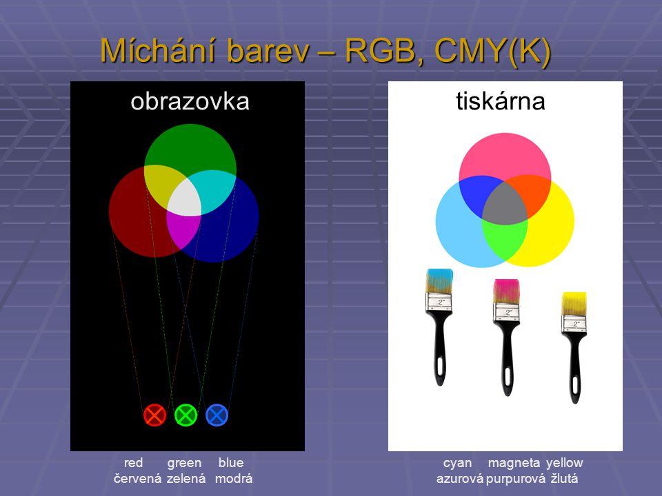 Míchání barev – RGB, CMY(K) red green blue červená zelená modrá obrazovka tiskárna cyan magneta yellow azurová purpurová žlutá