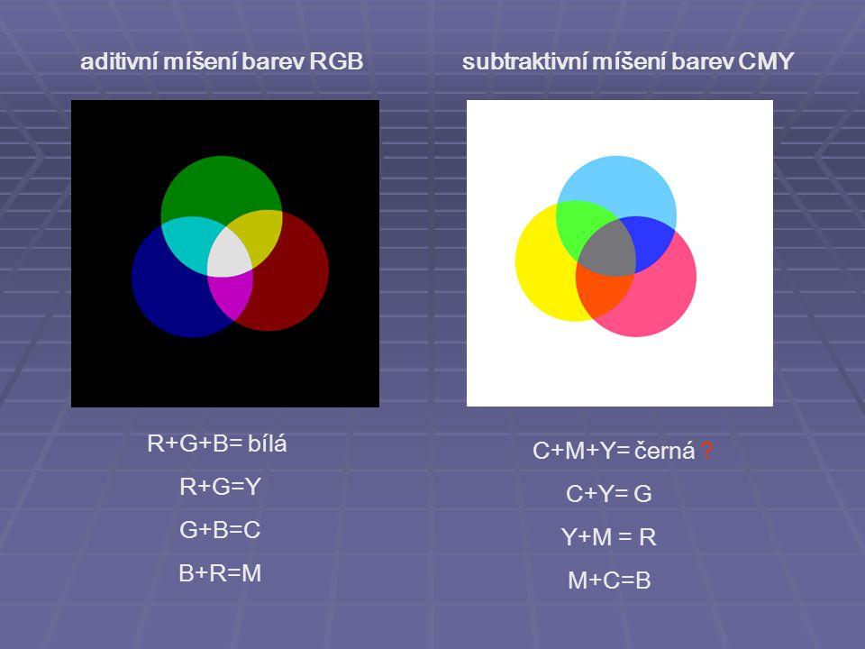 aditivní míšení barev RGB subtraktivní míšení barev CMY R+G+B= bílá R+G=Y G+B=C B+R=M C+M+Y= černá ? C+Y= G Y+M = R M+C=B