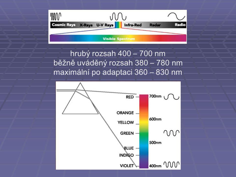 hrubý rozsah 400 – 700 nm běžně uváděný rozsah 380 – 780 nm maximální po adaptaci 360 – 830 nm