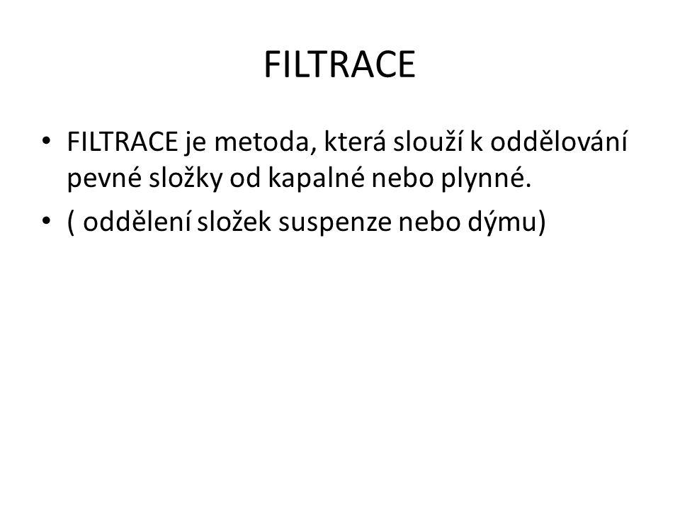 FILTRACE FILTRACE je metoda, která slouží k oddělování pevné složky od kapalné nebo plynné. ( oddělení složek suspenze nebo dýmu)