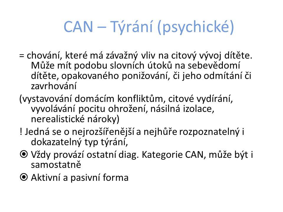 CAN – Týrání (psychické) = chování, které má závažný vliv na citový vývoj dítěte.