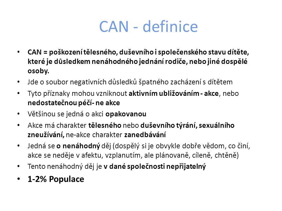 CAN - definice CAN = poškození tělesného, duševního i společenského stavu dítěte, které je důsledkem nenáhodného jednání rodiče, nebo jiné dospělé osoby.