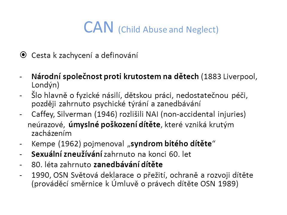 CAN – sexuální zneužívání definice Nepatřičné vystavení dítěte sexuálnímu kontaktu, činnosti či chování.