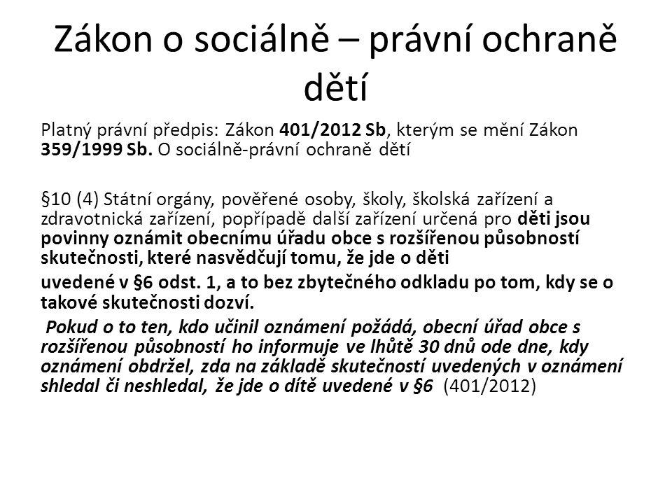 Zákon o sociálně – právní ochraně dětí Platný právní předpis: Zákon 401/2012 Sb, kterým se mění Zákon 359/1999 Sb.