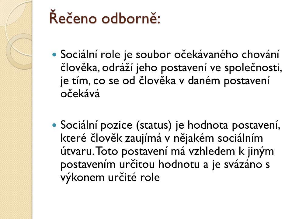 Řečeno odborně: Sociální role je soubor očekávaného chování člověka, odráží jeho postavení ve společnosti, je tím, co se od člověka v daném postavení očekává Sociální pozice (status) je hodnota postavení, které člověk zaujímá v nějakém sociálním útvaru.