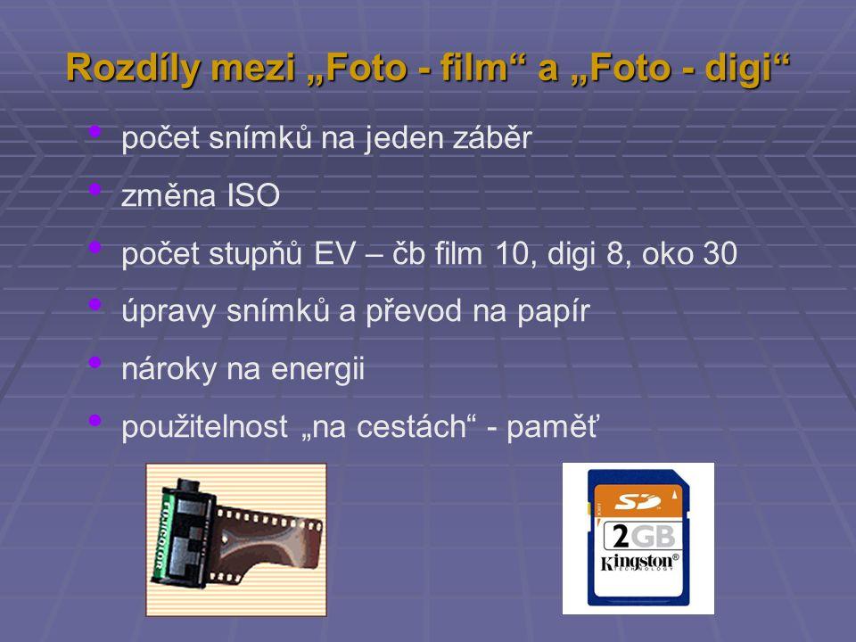 """Rozdíly mezi """"Foto - film"""" a """"Foto - digi"""" počet snímků na jeden záběr změna ISO počet stupňů EV – čb film 10, digi 8, oko 30 úpravy snímků a převod n"""