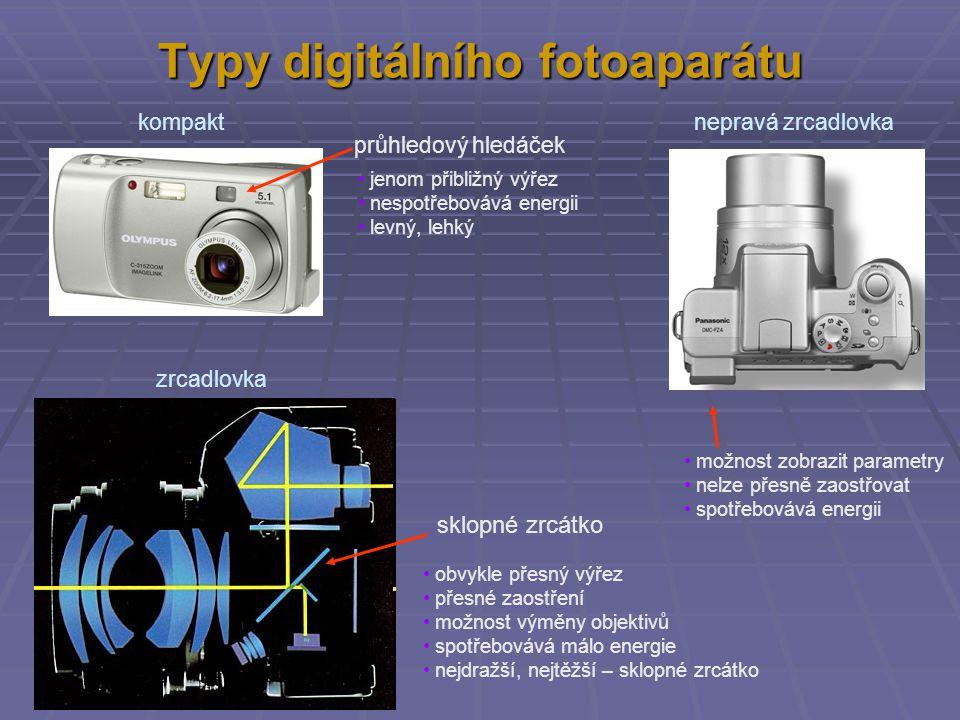 """Výběr digitálního fotoaparátu Základní parametry  cena  hledáček (průzor) – SLR, EVF nepravá zrcadlovka – pravá zrcadlovka  co největší rozsah zoomu, začínající co nejvíce pod 28 mm  minimální clona = co největší průměr """"čočky  počet bodů – pixelů – na které je obraz rozdělen Vedlejší parametry  AA nebo speciální akumulátor a doba práce  rychlost spouště  stabilizátor  úhlopříčka a počet bodů displeje  rozměry a hmotnost Příslušenství  paměťová karta: kapacita - rychlost - cena  stativ  UV filtr, polarizační filtr  …"""