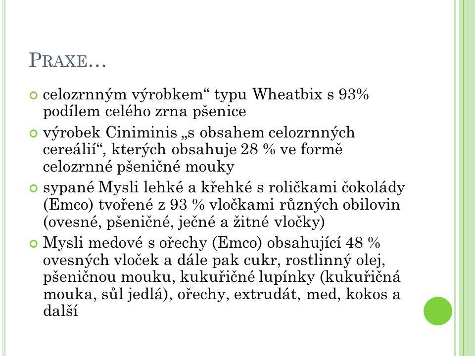"""P RAXE … celozrnným výrobkem"""" typu Wheatbix s 93% podílem celého zrna pšenice výrobek Ciniminis """"s obsahem celozrnných cereálií"""", kterých obsahuje 28"""