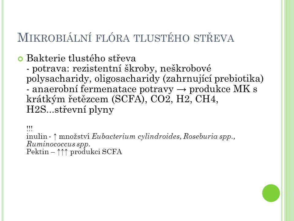 M IKROBIÁLNÍ FLÓRA TLUSTÉHO STŘEVA Bakterie tlustého střeva - potrava: rezistentní škroby, neškrobové polysacharidy, oligosacharidy (zahrnující prebio