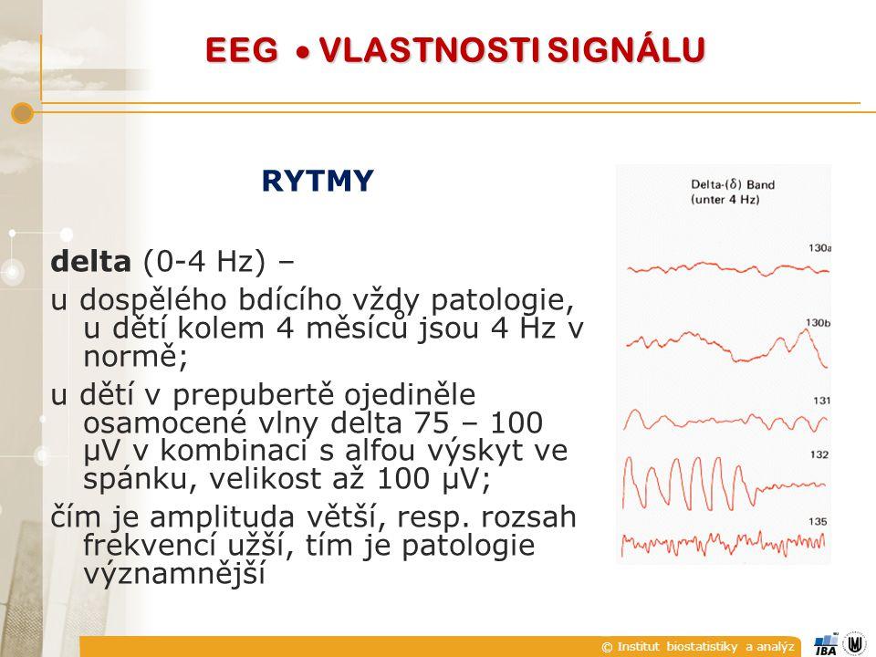 © Institut biostatistiky a analýz RYTMY delta (0-4 Hz) – u dospělého bdícího vždy patologie, u dětí kolem 4 měsíců jsou 4 Hz v normě; u dětí v prepubertě ojediněle osamocené vlny delta 75 – 100 μV v kombinaci s alfou výskyt ve spánku, velikost až 100 μV; čím je amplituda větší, resp.
