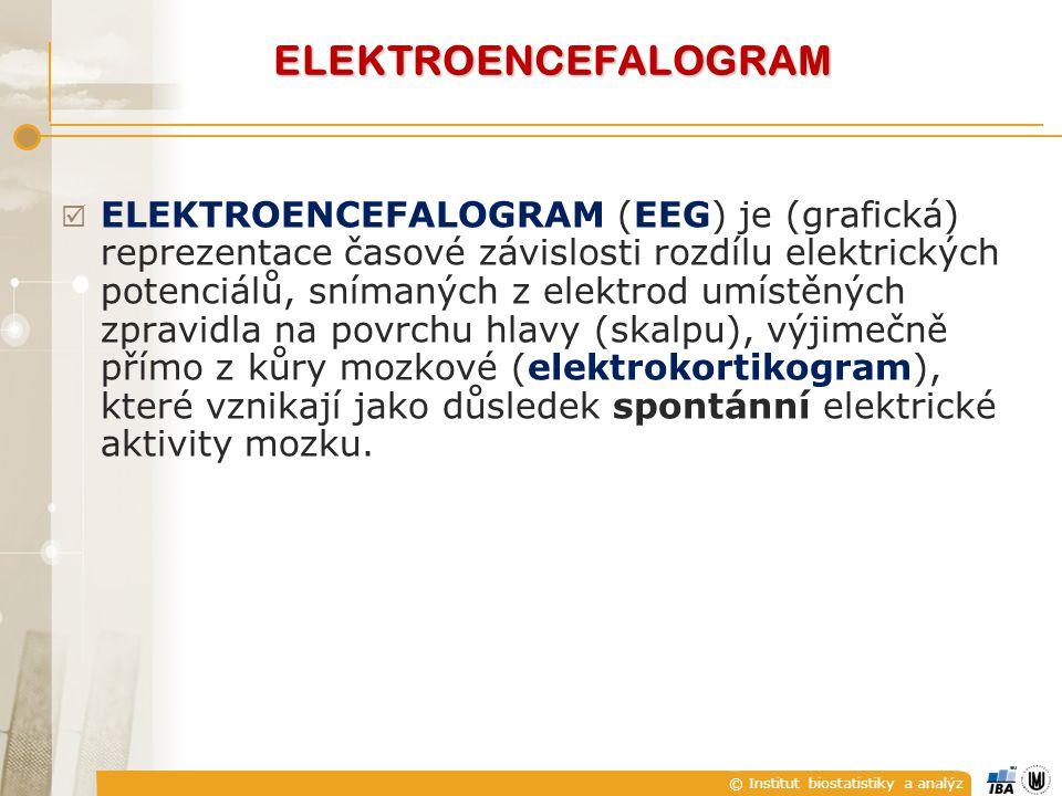 © Institut biostatistiky a analýz ELEKTROENCEFALOGRAM  ELEKTROENCEFALOGRAM (EEG) je (grafická) reprezentace časové závislosti rozdílu elektrických potenciálů, snímaných z elektrod umístěných zpravidla na povrchu hlavy (skalpu), výjimečně přímo z kůry mozkové (elektrokortikogram), které vznikají jako důsledek spontánní elektrické aktivity mozku.