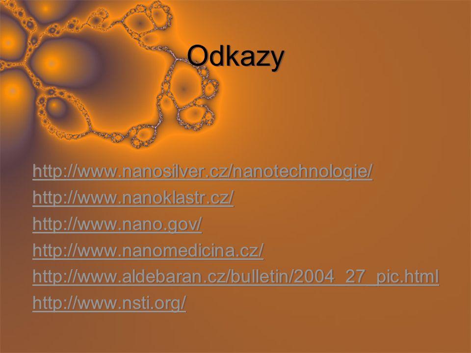 Odkazy http://www.nanosilver.cz/nanotechnologie/ http://www.nanoklastr.cz/ http://www.nano.gov/ http://www.nanomedicina.cz/ http://www.aldebaran.cz/bu