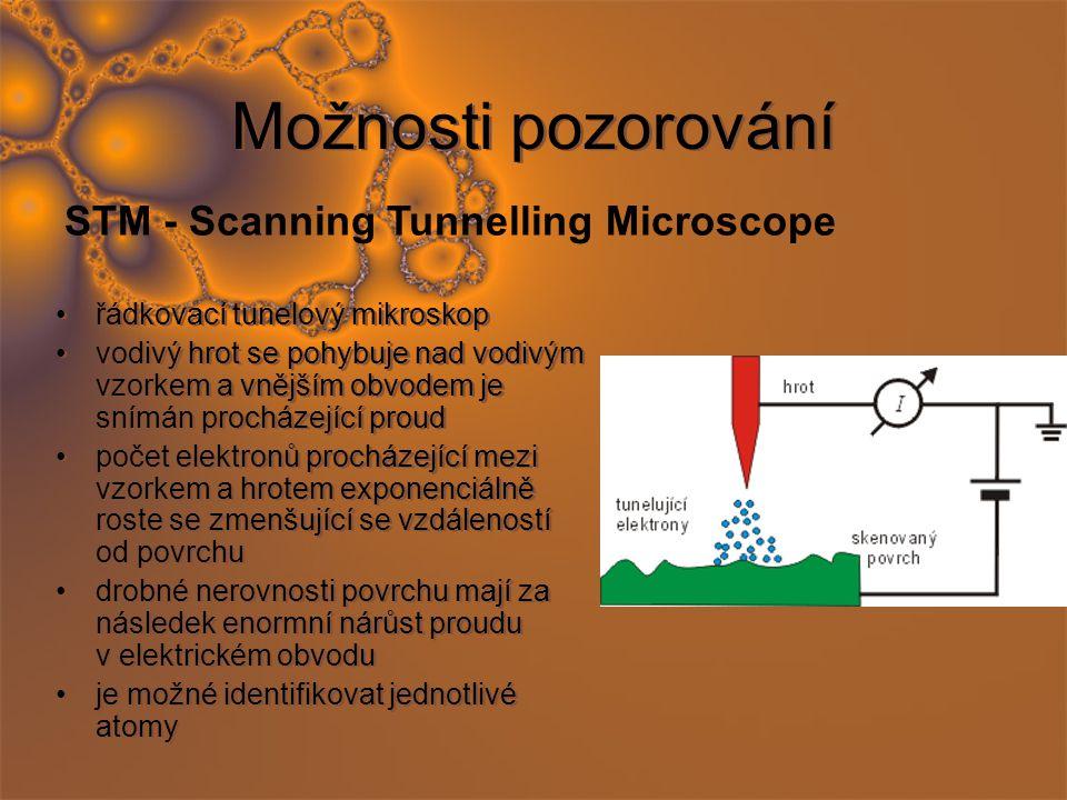 Možnosti pozorování řádkovací tunelový mikroskop vodivý hrot se pohybuje nad vodivým vzorkem a vnějším obvodem je snímán procházející proud počet elektronů procházející mezi vzorkem a hrotem exponenciálně roste se zmenšující se vzdáleností od povrchu drobné nerovnosti povrchu mají za následek enormní nárůst proudu v elektrickém obvodu je možné identifikovat jednotlivé atomy řádkovací tunelový mikroskop vodivý hrot se pohybuje nad vodivým vzorkem a vnějším obvodem je snímán procházející proud počet elektronů procházející mezi vzorkem a hrotem exponenciálně roste se zmenšující se vzdáleností od povrchu drobné nerovnosti povrchu mají za následek enormní nárůst proudu v elektrickém obvodu je možné identifikovat jednotlivé atomy STM - Scanning Tunnelling Microscope