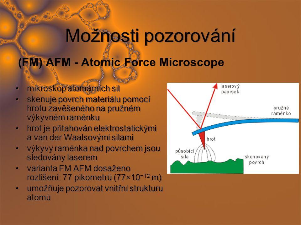 Možnosti pozorování mikroskop atomárních sil skenuje povrch materiálu pomocí hrotu zavěšeného na pružném výkyvném raménku hrot je přitahován elektrostatickými a van der Waalsovými silami výkyvy raménka nad povrchem jsou sledovány laserem varianta FM AFM dosaženo rozlišení: 77 pikometrů (77×10 −12 m) umožňuje pozorovat vnitřní strukturu atomů mikroskop atomárních sil skenuje povrch materiálu pomocí hrotu zavěšeného na pružném výkyvném raménku hrot je přitahován elektrostatickými a van der Waalsovými silami výkyvy raménka nad povrchem jsou sledovány laserem varianta FM AFM dosaženo rozlišení: 77 pikometrů (77×10 −12 m) umožňuje pozorovat vnitřní strukturu atomů (FM) AFM - Atomic Force Microscope