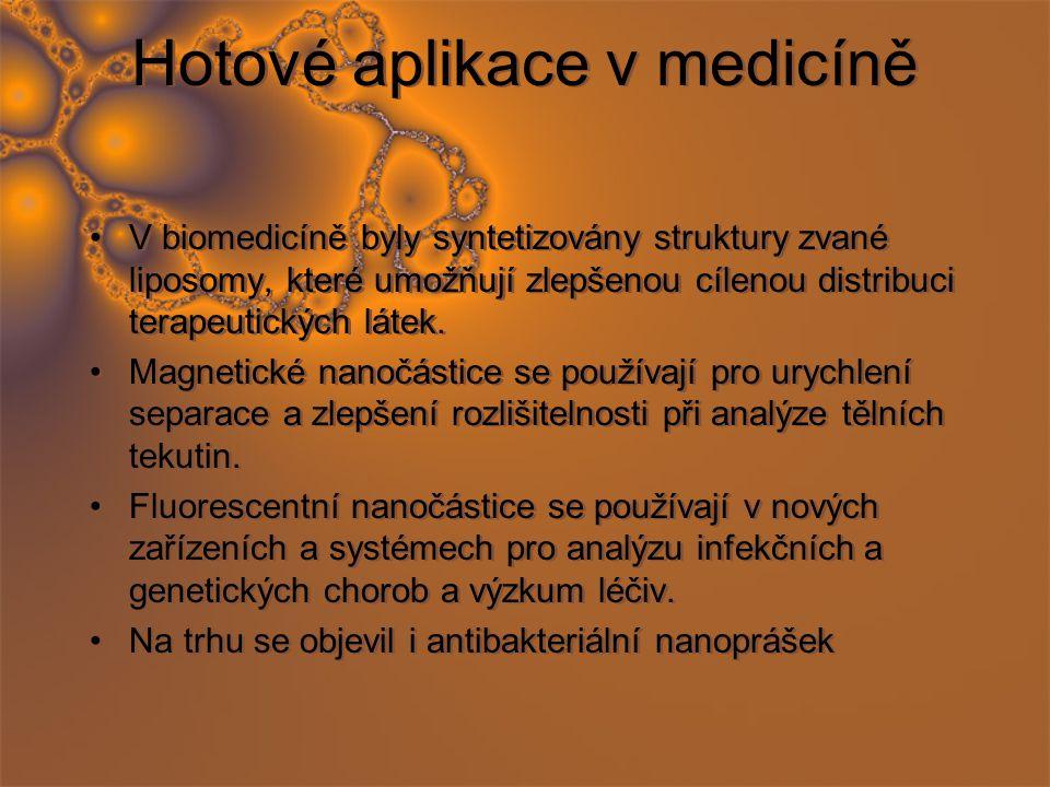 Hotové aplikace v medicíně V biomedicíně byly syntetizovány struktury zvané liposomy, které umožňují zlepšenou cílenou distribuci terapeutických látek