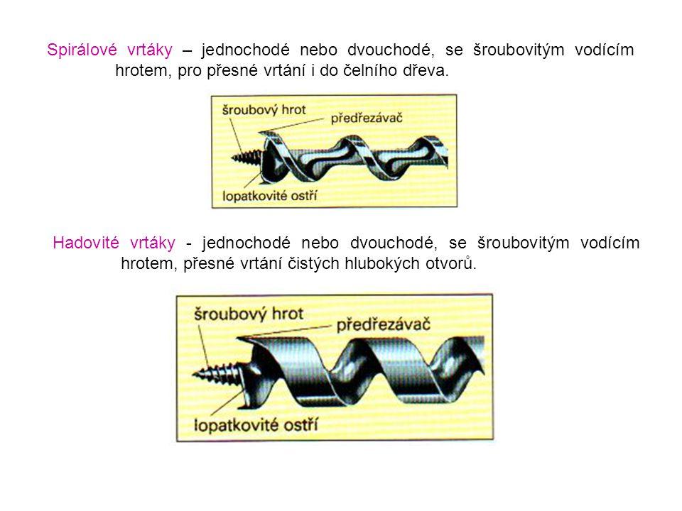 Spirálové vrtáky – jednochodé nebo dvouchodé, se šroubovitým vodícím hrotem, pro přesné vrtání i do čelního dřeva. Hadovité vrtáky - jednochodé nebo d