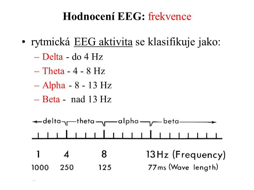 Hodnocení EEG: frekvence rytmická EEG aktivita se klasifikuje jako: –Delta - do 4 Hz –Theta - 4 - 8 Hz –Alpha - 8 - 13 Hz –Beta - nad 13 Hz
