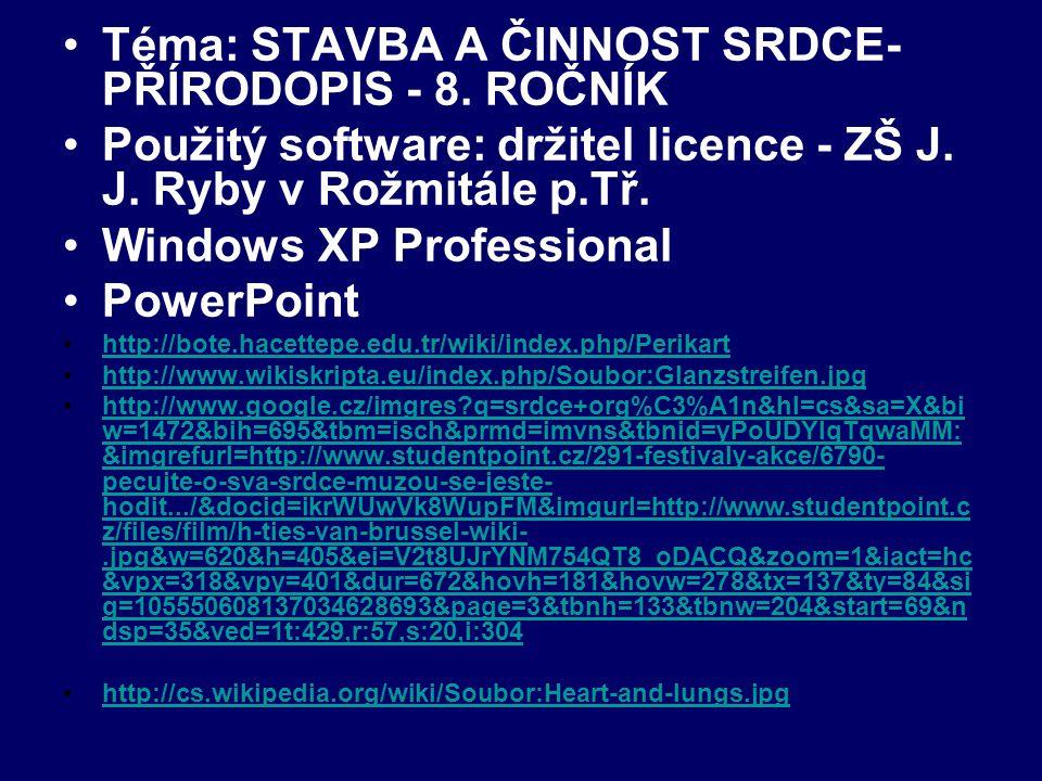 http://www.google.cz/imgres?q=srdce+org%C3%A1n&start=108&hl =cs&sa=X&biw=1472&bih=695&tbm=isch&prmd=imvns&tbnid=ndrd X2ZkcsdVJM:&imgrefurl=http://big-acko.blog.cz/0803/11-03-08- srdce&docid=4zQYVY_MzlG7_M&imgurl=http://nd01.jxs.cz/350/018 /098c2640dc_24819686_o2.jpg&w=1188&h=1116&ei=VP9-UP3- MfGP4gSO84CoDA&zoom=1&iact=hc&vpx=905&vpy=494&dur=421 &hovh=217&hovw=231&tx=142&ty=103&sig=105550608137034628 693&page=3&tbnh=148&tbnw=160&ndsp=53&ved=1t:429,r:37,s:10 0,i:115http://www.google.cz/imgres?q=srdce+org%C3%A1n&start=108&hl =cs&sa=X&biw=1472&bih=695&tbm=isch&prmd=imvns&tbnid=ndrd X2ZkcsdVJM:&imgrefurl=http://big-acko.blog.cz/0803/11-03-08- srdce&docid=4zQYVY_MzlG7_M&imgurl=http://nd01.jxs.cz/350/018 /098c2640dc_24819686_o2.jpg&w=1188&h=1116&ei=VP9-UP3- MfGP4gSO84CoDA&zoom=1&iact=hc&vpx=905&vpy=494&dur=421 &hovh=217&hovw=231&tx=142&ty=103&sig=105550608137034628 693&page=3&tbnh=148&tbnw=160&ndsp=53&ved=1t:429,r:37,s:10 0,i:115 http://cs.wikipedia.org/wiki/Soubor:Coronary_arteries.png http://www.google.cz/imgres?imgurl=http://nd01.jxs.cz/399/301/957f 6133ab_50346477_o2.jpg&imgrefurl=http://luciecajkova.blog.cz/091 1/srdce-cor-cardia&h=157&w=221&sz=31&tbnid=9USSeQpW35Cz- M:&tbnh=90&tbnw=127&zoom=1&usg=__1dFQay7m_uTrDi5uhiMd kUwDv1Q=&docid=UGdz5deHhfBw9M&hl=cs&sa=X&ei=RAl_UIHQ Dqrg4QS12ICQDQ&sqi=2&ved=0CCoQ9QEwAw&dur=2166http://www.google.cz/imgres?imgurl=http://nd01.jxs.cz/399/301/957f 6133ab_50346477_o2.jpg&imgrefurl=http://luciecajkova.blog.cz/091 1/srdce-cor-cardia&h=157&w=221&sz=31&tbnid=9USSeQpW35Cz- M:&tbnh=90&tbnw=127&zoom=1&usg=__1dFQay7m_uTrDi5uhiMd kUwDv1Q=&docid=UGdz5deHhfBw9M&hl=cs&sa=X&ei=RAl_UIHQ Dqrg4QS12ICQDQ&sqi=2&ved=0CCoQ9QEwAw&dur=2166 Autor: Mgr.