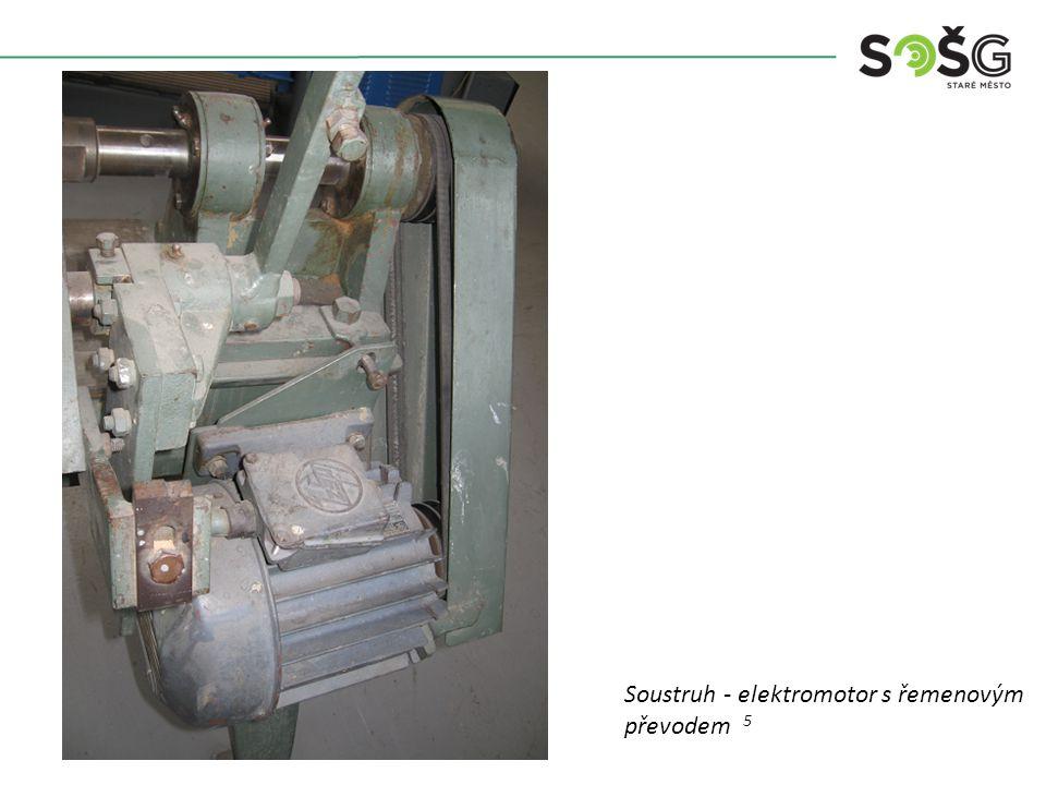 Vícekotoučová rozřezávací pila PWR 201 TOS Svitavy - detail Soustruh - elektromotor s řemenovým převodem 5
