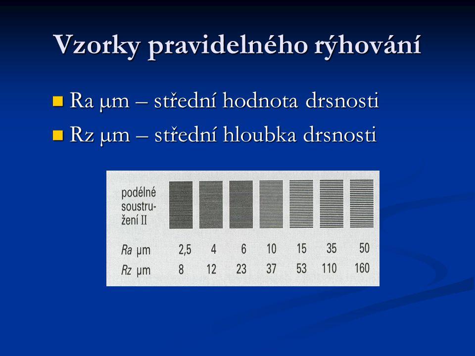 Vzorky pravidelného rýhování Ra µm – střední hodnota drsnosti Ra µm – střední hodnota drsnosti Rz µm – střední hloubka drsnosti Rz µm – střední hloubk