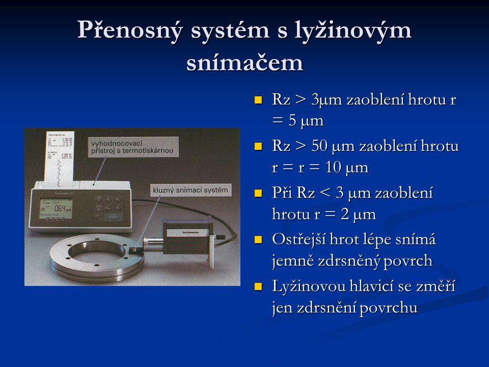 Relativní snímání lyžinovou hlavicí, použití u přenosných měřících přístrojů Relativní snímání lyžinovou hlavicí, použití u přenosných měřících přístrojů Kluzný snímací systém, vyhodnocovací přístroj s termotiskárnou Kluzný snímací systém, vyhodnocovací přístroj s termotiskárnou Velikost poloměru zaoblení hrotu omezuje schopnost snímat profily jemných rýh Velikost poloměru zaoblení hrotu omezuje schopnost snímat profily jemných rýh