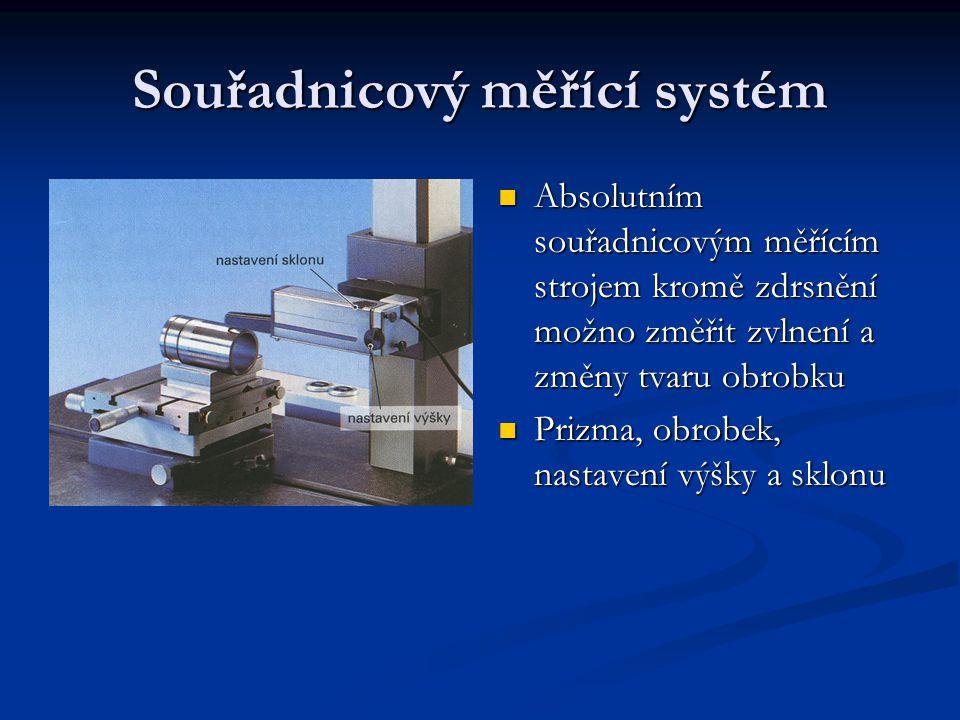 Souřadnicový měřící systém Absolutním souřadnicovým měřícím strojem kromě zdrsnění možno změřit zvlnení a změny tvaru obrobku Absolutním souřadnicovým