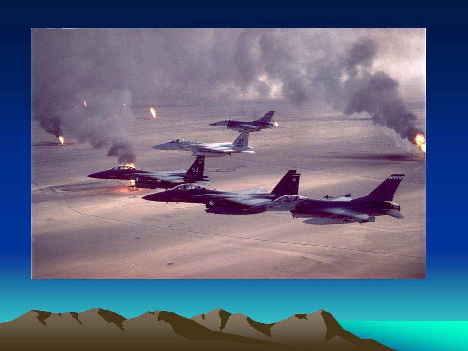 Operace Pouštní bouře Husajn oznámil, že použije příslušníky západních zemí jako lidské štíty k odvrácení Spojených států od bombardování Iráku Američané se rozhodli změnit obrané stanovisko, a tak nastala operace Pouštní bouře Američané tedy povolali do oblasti Perského zálivu dalších 250 000 vojáků ze zálohy, na což Irák reagoval posílením obranných řad 29.