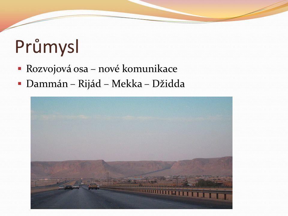 Průmysl  Rozvojová osa – nové komunikace  Dammán – Rijád – Mekka – Džidda