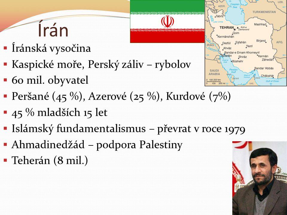 Írán  Íránská vysočina  Kaspické moře, Perský záliv – rybolov  60 mil.