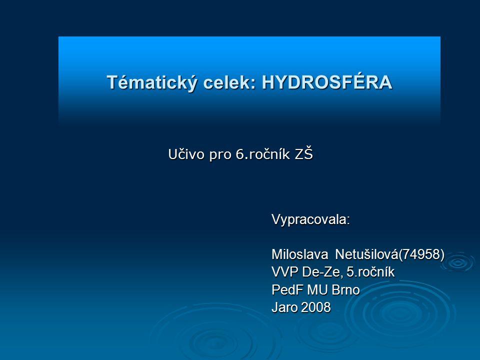 Učivo pro 6.ročník ZŠ Vypracovala: Miloslava Netušilová(74958) VVP De-Ze, 5.ročník PedF MU Brno Jaro 2008 Tématický celek: HYDROSFÉRA
