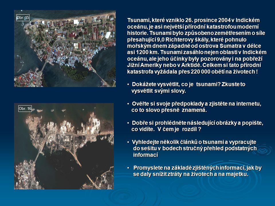 Obr. 16 Obr. 15 Tsunami, které vzniklo 26. prosince 2004 v Indickém oceánu, je asi největší přírodní katastrofou moderní historie. Tsunami bylo způsob